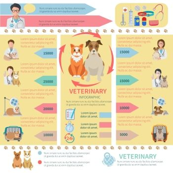 ING Veterinary infographics flat set with pet health care design elements vector illustration