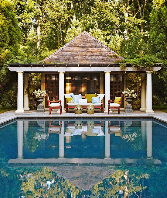 "I used to joke to my girls that when their dad & I retired, we'd live in their pool house & be on available to babysit their children; this could be the pool house! -- ""You've Never Seen a'Beach House Like This"" - Traditional Home"