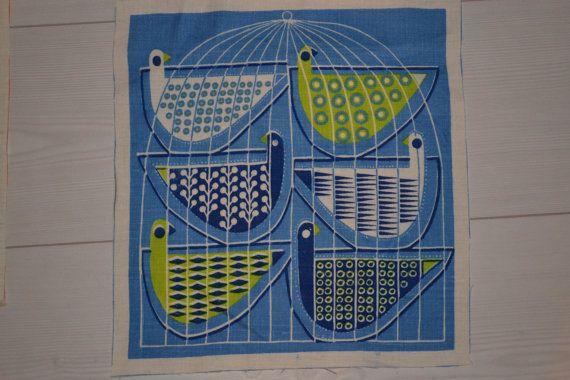 Swedish handprinted fabric bird design Maud Fredin Fredholm scandinavian 60s