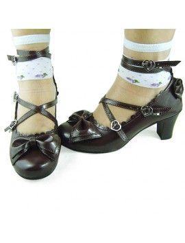 Coffee Bow Lolita Shoes