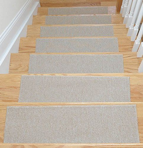 "Affordable Light Beige Set of 7 Skid-Resistant Rubber Backing Non-Slip Carpet Stair Treads-Machine Washable (8.5"" X 26.5"") Ottomanson http://www.amazon.com/dp/B00LK2QTDO/ref=cm_sw_r_pi_dp_Y1YGub1G4GQEW"