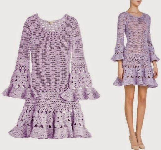 crochelinhasagulhas: Vestido em crochê by Michel Kors                                                                                                                                                                                 Mais