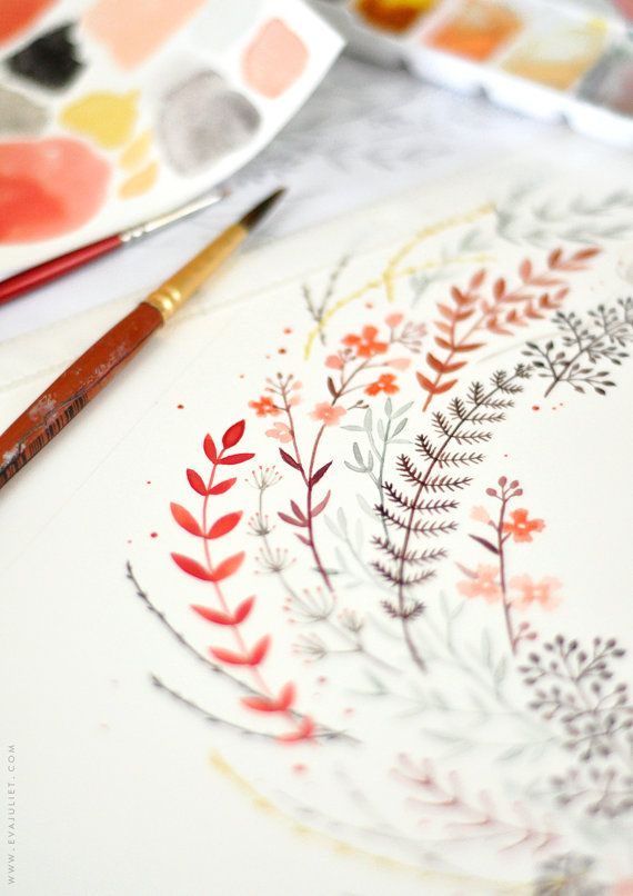 "Individuelles Angebot im Inneren einen Kranz aus Blumen - 12 ""x 12"" - Aquarell Abbildung artprint"