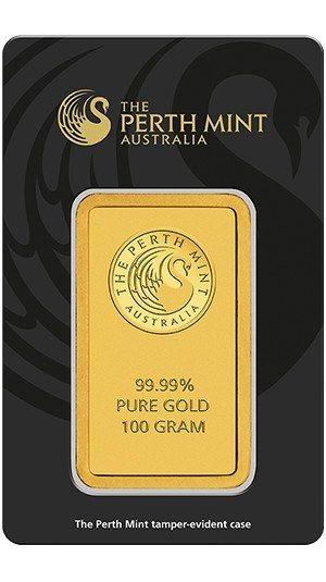 100g Perth Mint Gold Minted Bar