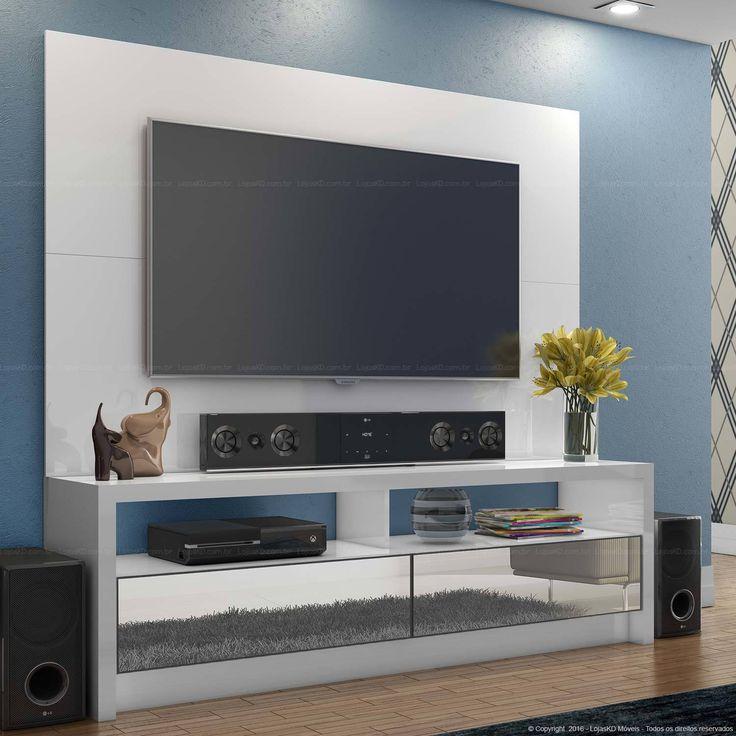 1.184,00 - Rack com Painel para Tv até 60 Polegadas com Espelho 100% MDF Branco - Dalla Costa   Lojas KD