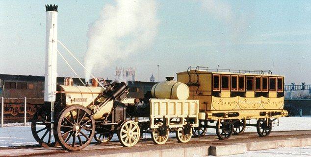 """A locomotiva """"Rocket"""" criada por George Stephenson em 1829. Foto retirada do site Dailymail.co.uk"""