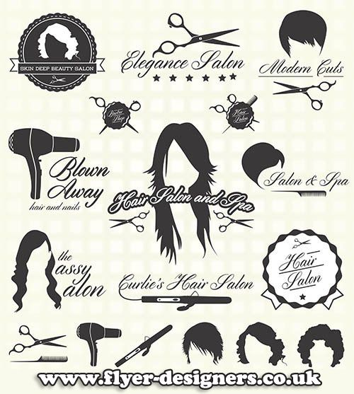 hair salon graphic elements for use on hair salon leaflets www.flyer-designers.co.uk #hairsalon #salonleaflets #hair