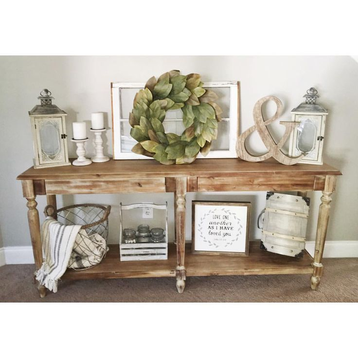 with a few farmhouse decor pieces you can make any space warm and inviting this rustic table does just that