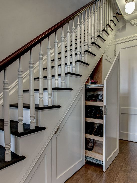 An Artistic Staircase Ideas For Small Spaces at Your Minimalist Homes: Cozy Staircase Ideas For Small Spaces Black White Staircase With Drawer Under It Laminated Wooden Floor White Shoes Rack Hanging Lighting White Door Wooden Handrail ~ babazeka.com Featured Inspiration