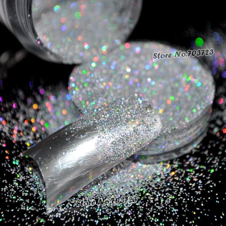 5 g/doos Laser Zilveren Regenboog Poeder Acryl UV Nail Art Glitter Dust oogschaduw Make Nail Salon Manicure Decoratie N32
