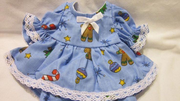 "Blue Christmas Print Dress/bloomers, fits 8"" L'il Cutie Berenguer #KindredHeartsDesigns"