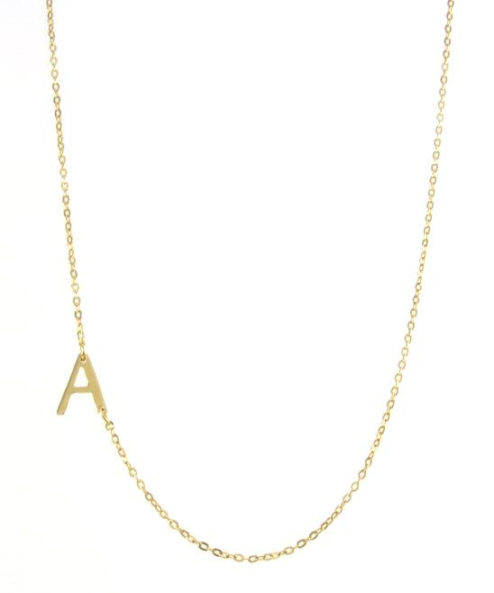 Gold Bold Side Initial Pendant Necklace -- so cute with his initial
