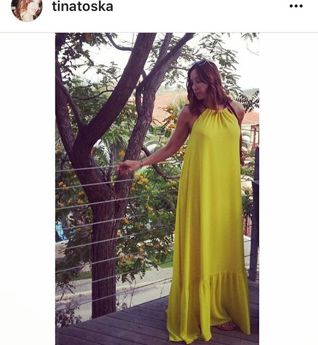 @tinatoska in #despinavandicollection #yellow #dress #fashion  Shop.despinavandi.gr