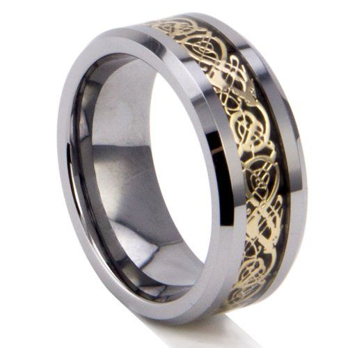 King Will 8mm Tungsten Carbide Celtic Dragon Gold Inlay Wedding Band Any Size Hafl Sz Available