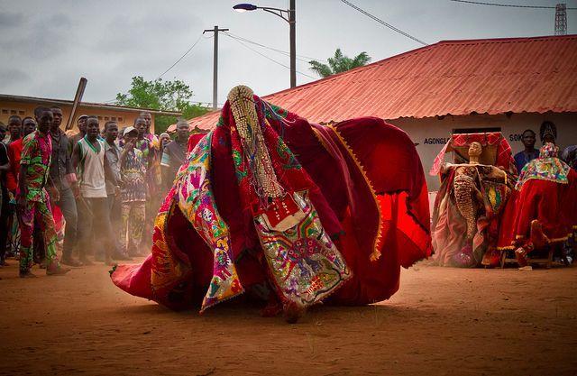 Egungun masks in Abomey, Benin