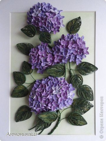 Painting mural drawing Paper Quilling hydrangea photo 1