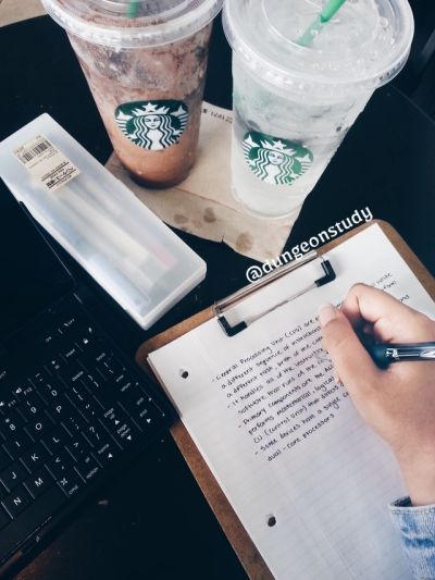 dungeonstudy: Woke up really early to complete the work I didn't do yesterday Spent 4 hours at Starbucks doing some review and taking down notes Made more study guides