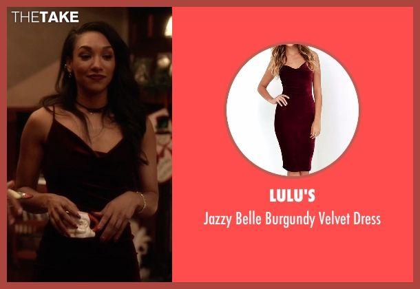 Lulu's Jazzy Belle Burgundy Velvet Dress as seen on Iris West / Iris West-Allen in The Flash | TheTake