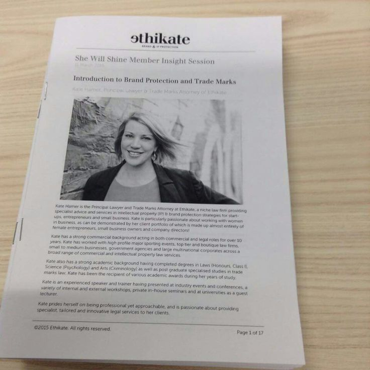 Our booklets for the She Will Shine Brand and IP workshop #ethikatelyip #ethikate #daretobedifferent #lawyer
