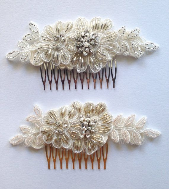 LILA Gold or Silver crystal lace Bridal comb beaded от JoliPetale