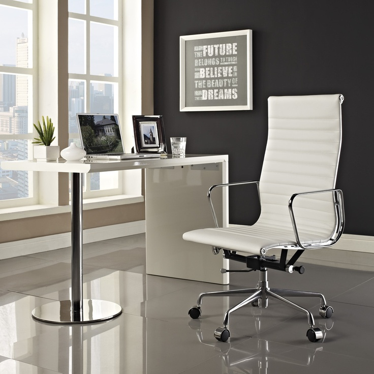 White Genuine Leather Ribbed High Back Office Chair | Overstock.com |  Design | Pinterest | Conference Room Chairs, Conference Room And Office  Spaces