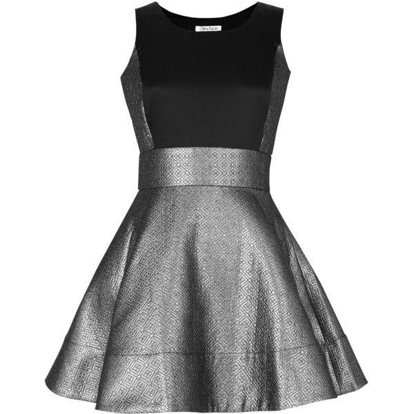 Olivia Rubin Lily Brocade Dress ($111) ❤ liked on Polyvore featuring dresses, vestidos, black, short dresses, robe, women, metallic dress, black cocktail dresses, black dress and metallic cocktail dress
