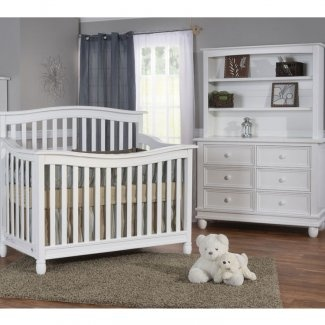 Delightful Pali 2 Piece Nursery Set   Wendy Convertible Crib And Double Dresser /  Changer In Distressed White