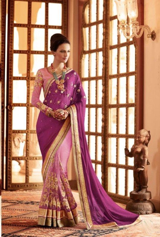 Purple designer saree with blouse