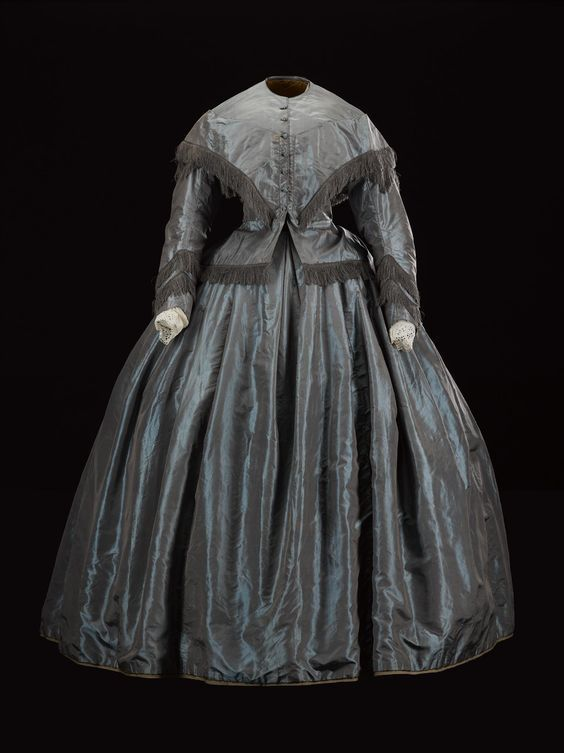 Woman's dress, in brown and blue shot silk, ca. 1860-63   Bodice of a woman's dress, in brown and blue shot silk, part of an ensemble w...