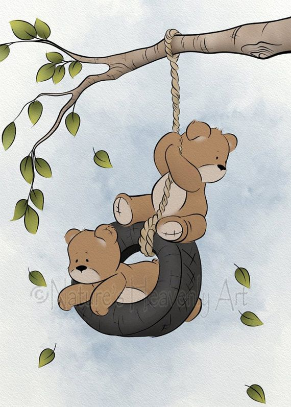 Baby Boys Nursery Decor, Childrens Wall Art Teddy Bear Print, Artwork for Kids Room 5 x 7 Print (143)