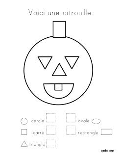 several free printable pages for French class book, Halloween and shapes - que vois-tu?