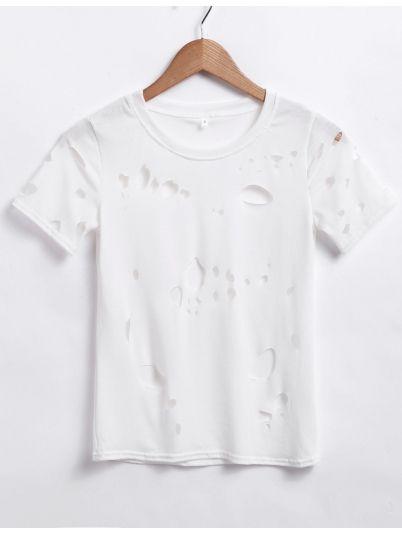 White Key Holes Short T-Shirt