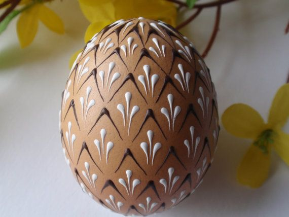 Easter Egg, Wax Embossed Pysanky, Hand Decorated Chicken Egg, Drop Pull Pisanki on Etsy, $26.95