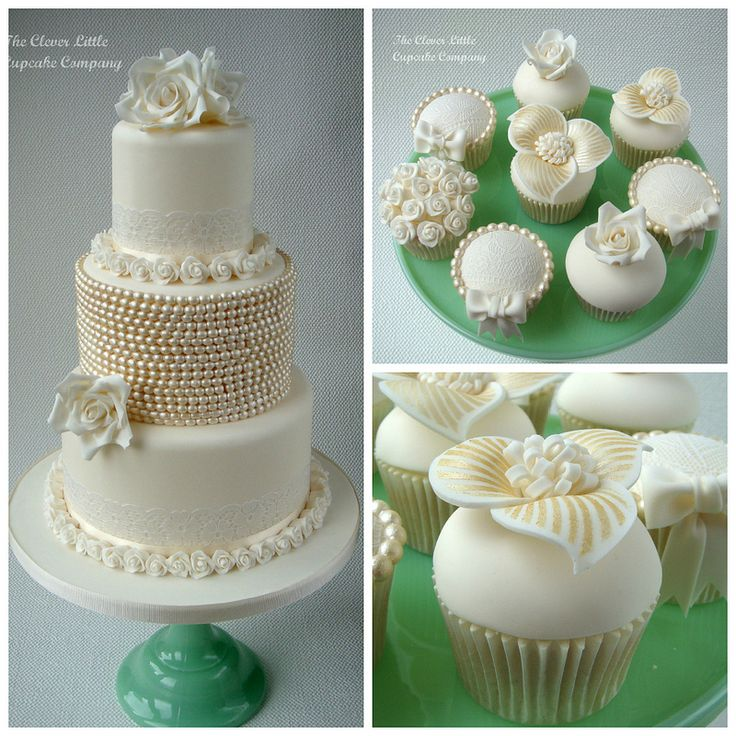 Vintage Lace and Pearl Cake and Cupcakes   by The Clever Little Cupcake Company