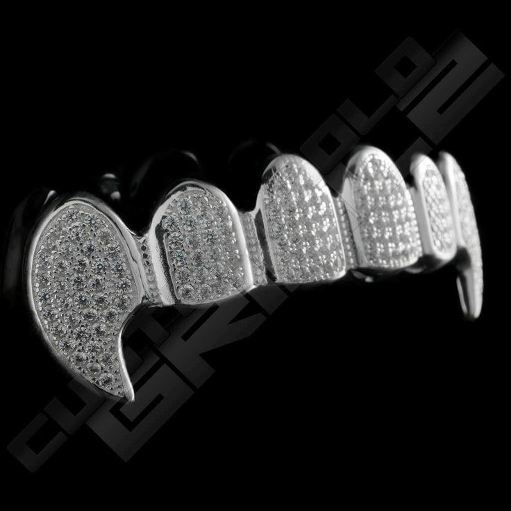 Solid Sterling Silver Fanged Iced Out Grillz