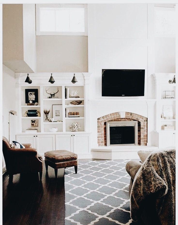 White walls. Dark floor. Wall storage. Brick chimney. Leather.