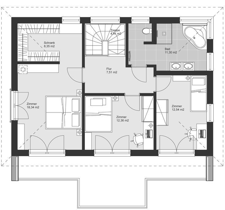 Grundriss Obergeschoss Haus grundriss, Bauhausstil, Haus
