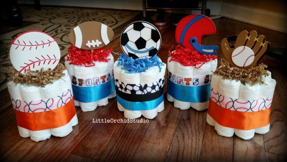 Set of 5 Mini Sports Diaper Cake/ Boys available at www.etsy.com/shop/LittleOrchidStudio