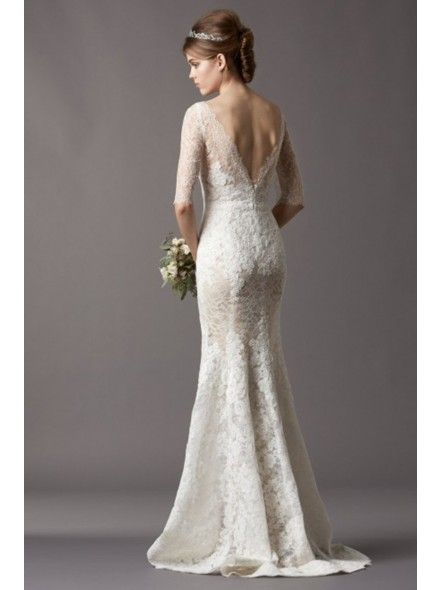 Fantastic Illusion Dropped Train Lace Ivory Half Sleeve Wedding Dress with Appliques LWAT15025 #dress #landybridal