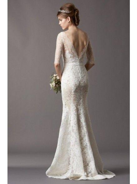 Fantastic Illusion Dropped Train Lace Ivory Half Sleeve Wedding Dress with Appliques LWAT15025 #dress #landybridal