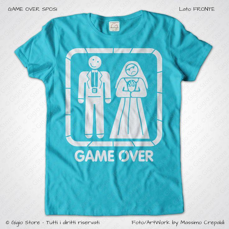 Maglietta Addio al Nubilato Game Over Sposi colore Turchese stampa colore Bianco taglia XS, S, M, L, XL