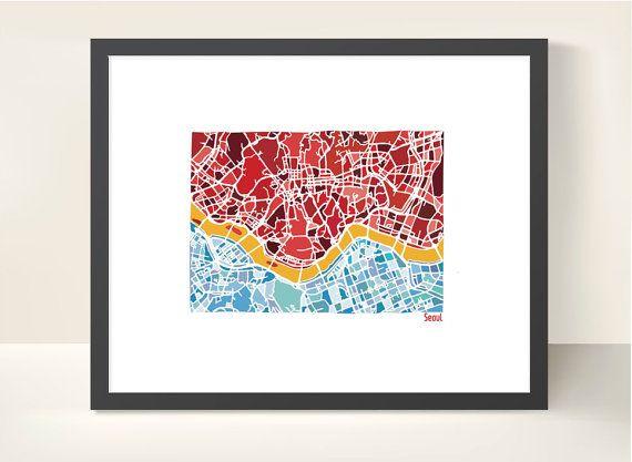 Seoul South Korea City Map Original by richardedalton on Etsy
