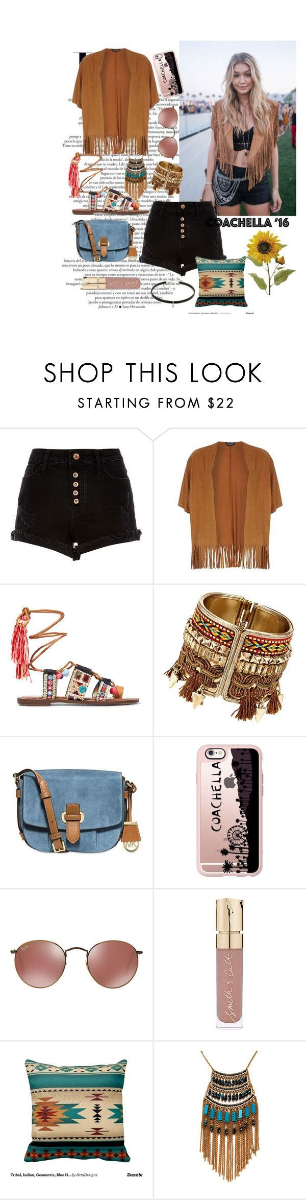 """""""Coachella '16 Gigi hadid get the look"""" by doniaabu ❤ liked on Polyvore featuring River Island, Dorothy Perkins, Sam Edelman, MICHAEL Michael Kors, Casetify, Smith & Cult and Leslie Danzis"""