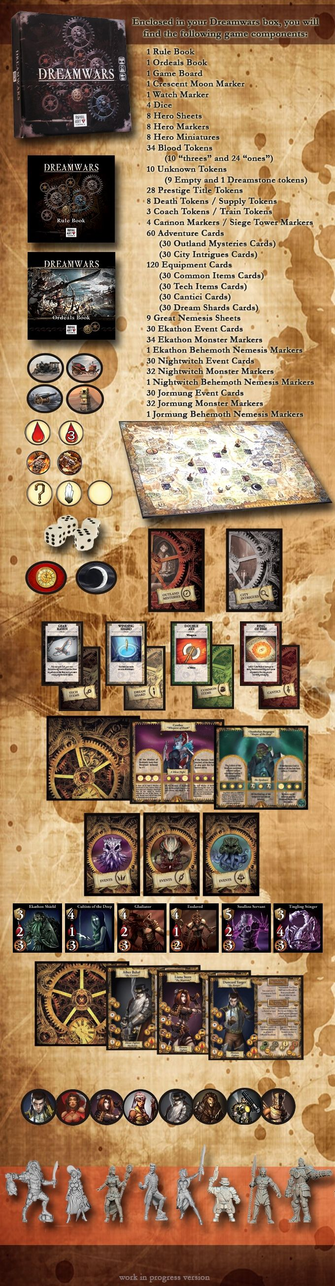 Dreamwars is a 1-to-8 players cooperative board game set in an original steampunk horror world.