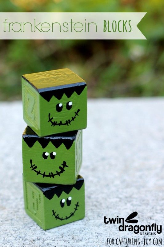 How to make your own Frankensein Blocks for Halloween. Fun activity with the kids! #diy #craft