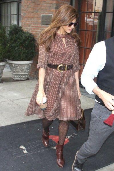 Eva Mendes Print Dress - Eva Mendes Clothes Looks - StyleBistro