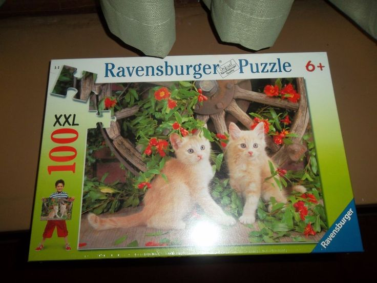 Ravensburger Puzzle 2 Kittens In A Garden 100 Pieces XXL 6+ New Sealed #Ravensburger