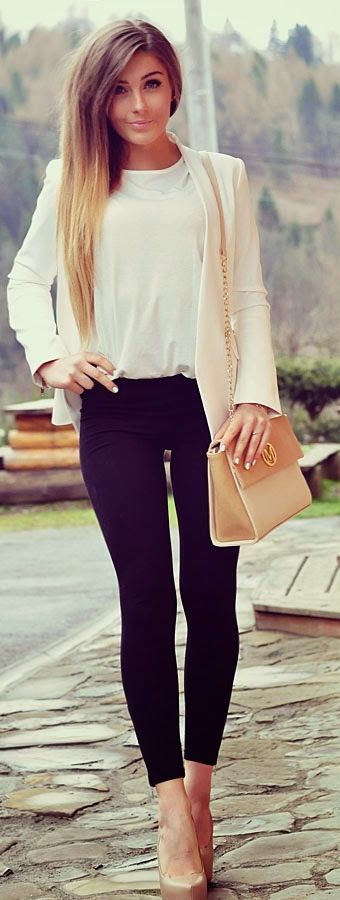 White, Black And Beige Outfit Idea: