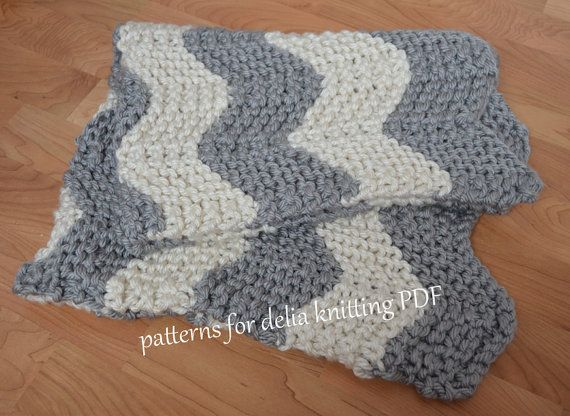 Chunky Chevron Baby Blanket KNITTING PATTERN easy beginner zig zag crib blank...