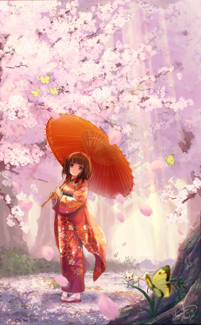 ✮ ANIME ART ✮ kimono. . .traditional wear. . .parasol. . .short hair. . .sakura. . .cherry trees. . .cherry blossoms. . .flowers. . .forest. . .nature. . .butterfly. . .fox. . .kitsune. . .cute. . .kawaii